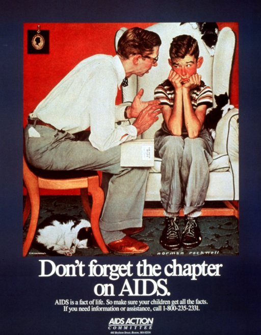 <p>Steel blue poster with white lettering.  Upper portion of poster dominated by a reproduction of Norman Rockwell's &quot;The Facts of Life&quot; from 1951.  The image shows a father and son, both seated.  The father leans toward his son and gestures with his hands, while a book entitled &quot;The Facts of Life&quot; rests on his knee.  The son looks at the father, appearing perhaps nervous and skeptical.  Title, caption, and publisher's information below image.</p>