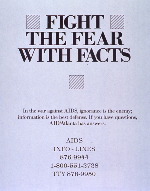 <p>White poster with black lettering.  Title at top of poster.  Visual image is three squares with diagonal lines.  Squares beside and below title.  Note just below center of poster.  Hotline numbers below note.</p>