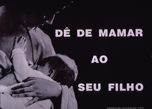 <p>Black and white poster with white lettering.  Title on right side of poster.  Visual image is a b&amp;w photo reproduction featuring a mother nursing her baby.  Publisher information in lower right corner.</p>