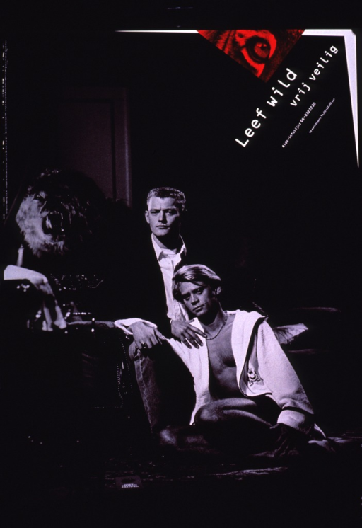 <p>Predominantly black and white poster with white lettering and red highlights.  Title and phone number for an AIDS information line in upper right corner.  Title addresses living wild and safe sex.  Visual image is a b&amp;w photo reproduction featuring a male-male couple.  One man sits on the floor, wearing a bathrobe, while the other sits in a chair dressed in a sport coat and jeans.  A roaring lion is visible in the background.  Publisher and sponsor information on upper left edge.</p>