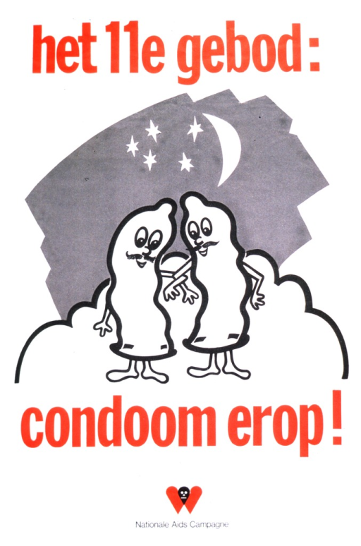 <p>Two condoms, both illustrated to look like people, are standing arm in arm with the moon and stars behind them.  They both have mustaches and appear to be glancing down, standing on what could be a cloud.</p>