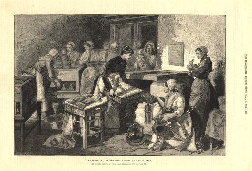 <p>This engraving depicts several &quot;incubators&quot; that were invented at this Paris hospital just four years earlier by Stephane Tarnier. Several nurses are placing babies in the incubators that have thermometers on them.</p>