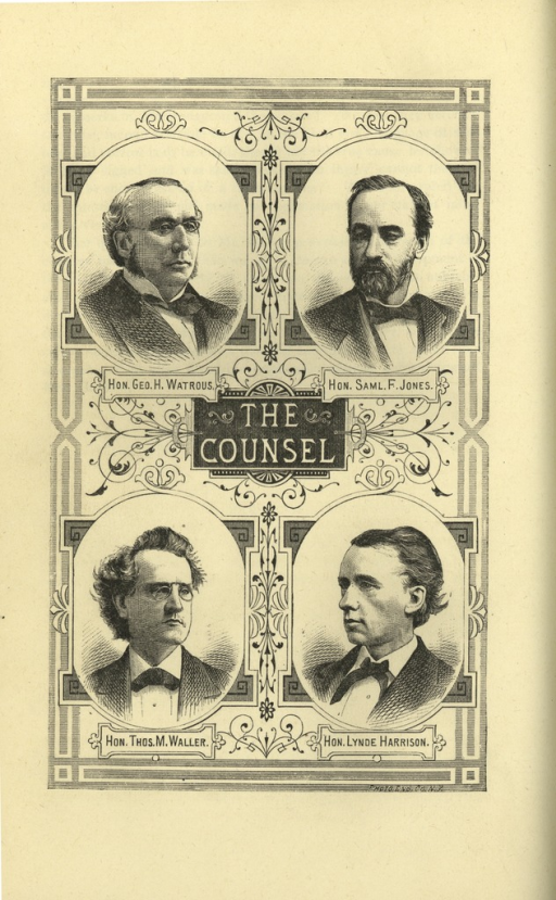 <p>Image of a pamphlet page featuring four engravings of the Herbert H. Hayden's counsel members. Clockwise from top left are portraits of: George H. Watrous, Samuel F. Jones, Thomas M. Waller, and Lynde Harrison. Engravings by Photo Eng. Co., N.Y.</p>