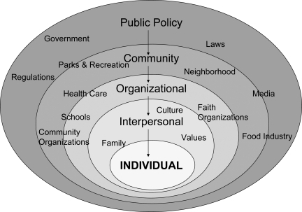 The socio-ecological framework. Health behaviors of the individual (inner oval) are influenced by interpersonal, organizational, community, and public policy domains represented by the progressively larger ovals. Many influencers span more than one domain.