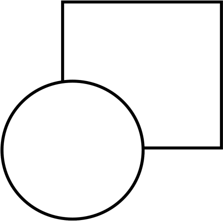 "An example of a stimulus that leads to ""amodal completion"".						Typically, observers perceive a square behind the circle, even though part						of the square is not explicitly present in the image. This part is assumed						to be present and occluded by the circle."