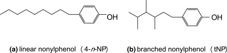 Molecular structure of a linear nonylphenol and b a branched nonylphenol isomer