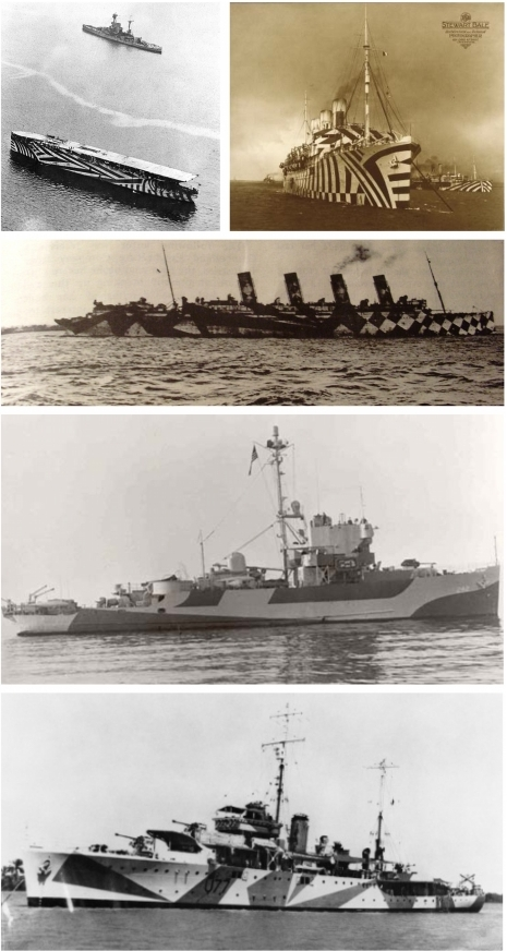 Examples of dazzle camouflage used in the First and Second World Wars.From top left: HMS Argus, SS Empress of Russia, Mauretania (World War One); USS Inaugural, HMAS Yarra (World War Two). Photographs from Wikipedia Commons.