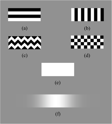 Stimuli.(a)–(e) standards, (f) comparison. (a) horizontal, (b) vertical, (c) zigzag, (d) check, (e) plain, (f) 1-D Gaussian. Stimuli (a)–(d) were displayed at two contrast levels (6.25% and 100%); stimulus (e) was displayed at maximum luminance (95.4 cd/m2); stimulus (f) ranged from mean luminance (47.7 m2) to maximum luminance (95.4 cd/m2).