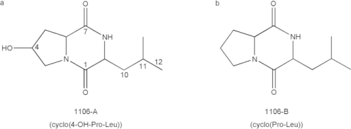 Molecular structures of algicidal compounds produced by Chryseobacterium sp. strain GLY-1106.