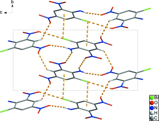 Crystal packing viewed along the a axis. The intermolecular interactions are shown as dashed lines.
