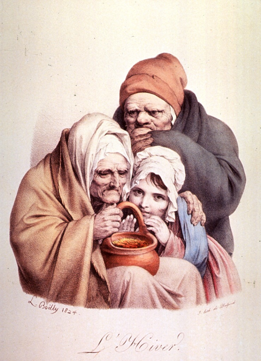 <p>A man, woman, and child are wrapped in blankets and huddled together for warmth.</p>
