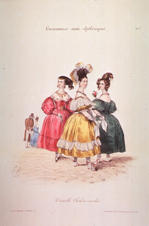 <p>Street scene:  Group of three women (probably prostitutes?) wearing fancy dresses and hair styles.  The dresses are styled low in the front to expose the breasts.  A man (Death figure?) and a woman stand together in the background.</p>