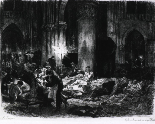 <p>Interior of a church, where emergency aid is being given to the wounded.</p>