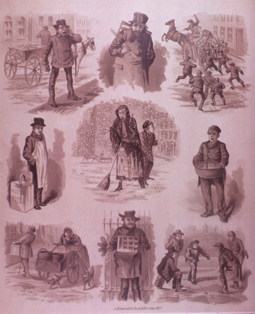 <p>Exterior view of people on the street includes vendors, men playing a game, men chasing a horse drawn cart, and a woman in a shawl standing in the snow holding a broom in one hand with the other hand extended.  On the verso is an advertisement for smoking tobacco manufactured by Marburg Bros.</p>