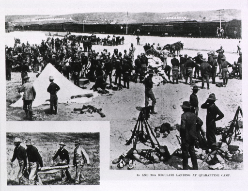 <p>3rd and 20th regulars landing at quarantine camp (at Camp Wikoff, Montauk Point, N.Y.).</p>