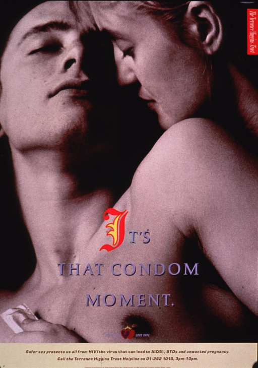 <p>The poster shows a photo reproduction of two people embracing, head and shoulders only. The woman is behind the man and she is holding a wrapped condom in the hand she has across his chest. Part of the print for the title is in color and a set of hearts, the remainder of the text, and a phone number for contact information appear at the bottom of the poster.</p>