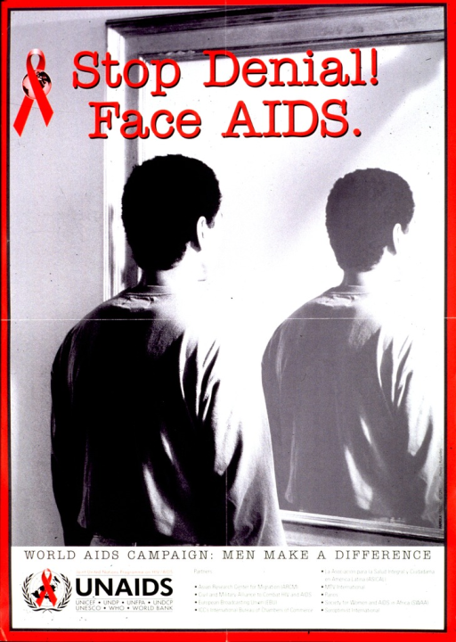 <p>Predominantly black and white poster with red lettering and trim.  Poster dominated by a b&amp;w photo reproduction showing a man looking into a mirror.  The photo has been manipulated so the man's back appears in the mirror, rather than his reflection.  Title superimposed on photo near top of poster.  Caption below photo.  Publisher information at bottom of poster.</p>
