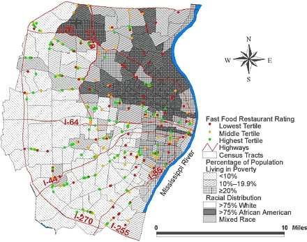Location of 355 fast food restaurants and 220 census tracts with underlying racial distribution and poverty rate in the St Louis, Mo, study area.