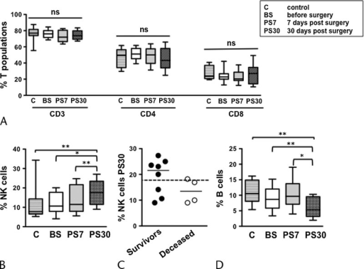 Modulation of the main lymphocyte subsets in pancreatic cancer patients undergoing DP with extended lymphadenectomy and mesopancreas exeresis. Frequency of circulating CD3+, CD4+, and CD8+ T (A), NK (B), and B-lymphocyte (D) subsets, in pancreatic cancer patients before surgery (BS), at day 7 (PS7), and at day 30 (PS30) postsurgery, as well as age-matched controls (C). Bars show median and interquartile range. *P < 0.05; **P < 0.005. Distribution and median of NK cell frequency at PS30 in 2-year survivors (black circles) and deceased (white circles) patients, compared with the median of all patients (C, dashed line).