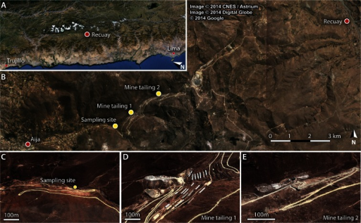Location of the area of study (a, b), sampling site (b, c) and major upstream mine tailings (d, e)