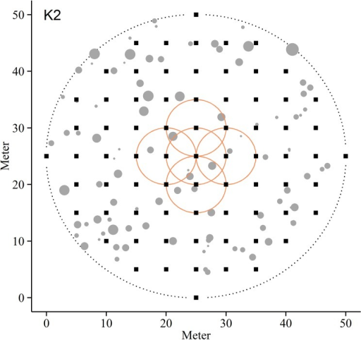Sampling strategy.Sampling strategy for the eight boreal forest plots used in this study, illustrated by plot K2. Filled squares represent 73 sample points for field layer vegetation, mosses and the organic top soil layer. Filled circles indicate location of standing trees. Stand density measures were calculated at a plot scale (dotted circle) and in subplots with a radius of 5 m around for each of the 73 sampling points (full circles). For illustration purposes only five of the density circles are displayed.