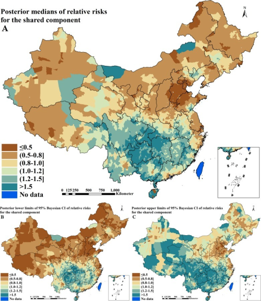 Spatial distributions of the shared component between active pulmonary tuberculosis and intestinal helminth infection across P. R. China (A. posterior medians of relative risks; B. posterior lower limits of 95% Bayesian credible intervals [CI] of relative risks; C. posterior upper limits of 95% Bayesian CI of relative risks)