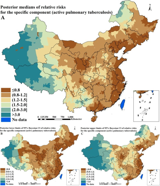 Spatial distributions of the specific component for active pulmonary tuberculosis across P. R. China (A. posterior medians of relative risks; B. posterior lower limits of 95% Bayesian credible intervals [CI] of relative risks; C. posterior upper limits of 95% Bayesian CI of relative risks)
