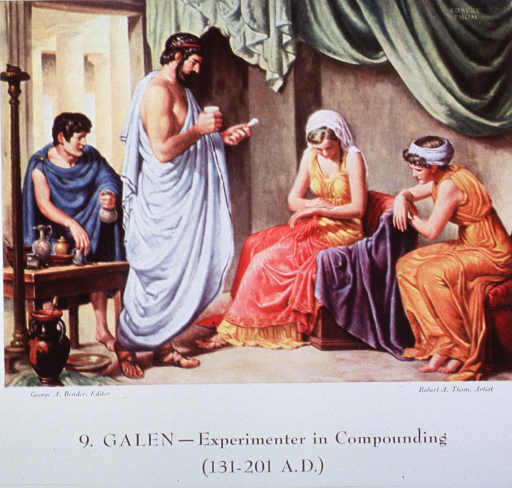 <p>Showing Galen administering a medicinal coumpound, and a woman rubbing the mixture on her arm.</p>
