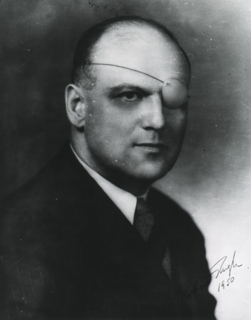 <p>Head and shoulders, right pose, patch on left eye.</p>