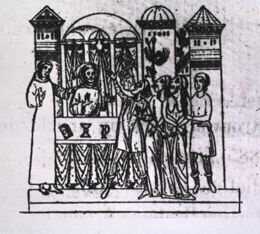 <p>Three possessed persons are standing before an alter, two have their hands bound, a demon escapes from the mouth of one, and a cloudy substance issues from the mouth of another.  Two priests stand at the alter; the church is in the background.</p>