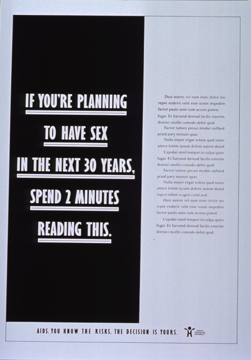 <p>Black and white poster.  Title on left side of poster.  Text on right side of poster appears to be part of a Latin text commonly used for checking fonts or typesetting jobs (i.e., Lorem ipsum ... ), suggesting that the poster is unfinished.  Note and publisher information at bottom of poster.</p>