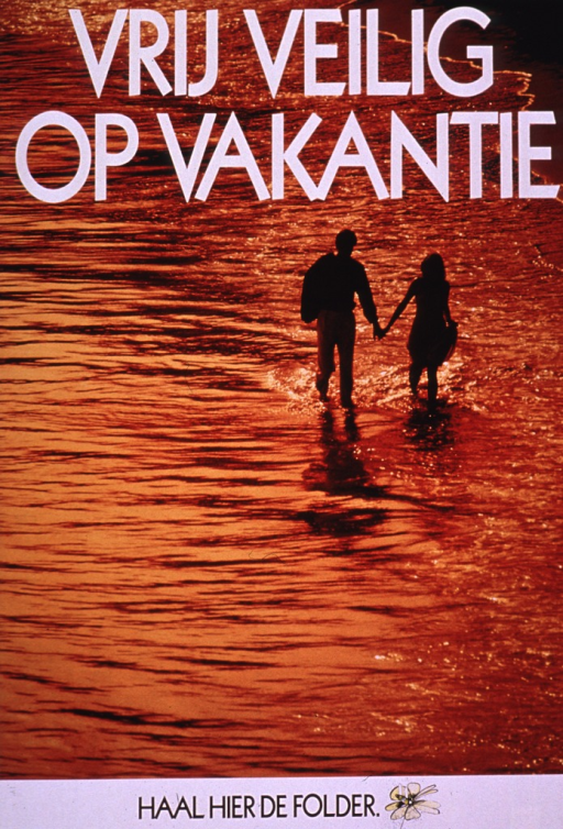 <p>Multicolor poster with white and black lettering.  Title at top of poster.  Title may refer to safe sex while on vacation.  Visual image is a color photo reproduction featuring a male-female couple holding hands and walking along a beach, apparently at sunset as the water is nearly gold.  Note at bottom of poster.</p>