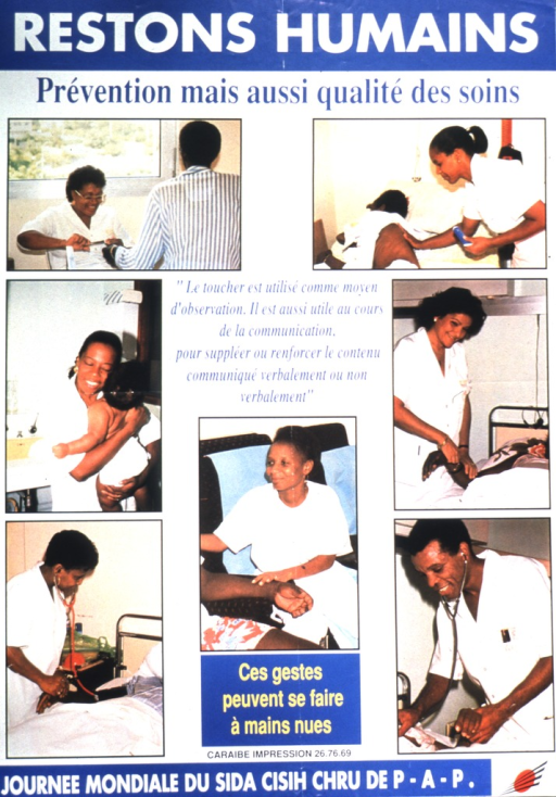 <p>Several shots of health care professionals tending to their patients in a compassionate manner.  They include taking someone's pulse, hugging an infant, rubbing lotion on a patient's back, and bandaging someone's hand.  In all cases, the focus is on the professional, showing them with smiles on their faces and tending to the patients in a tender way.  Note text refers to World AIDS Day and possibly to the Centre d'information et de soins d'immunodeficience humaine, Centre hospitalier regional de Pointe-a-Pitre in Guadeloupe (the French portion of the island of St. Martin).</p>