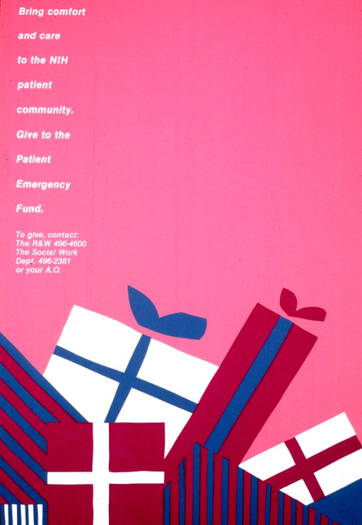 <p>A stack of wrapped packages is at the bottom of the poster.  Contact phone numbers are given below the title.</p>