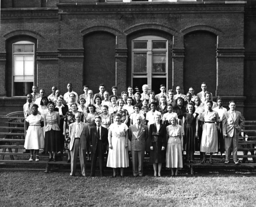 <p>Army Medical Library Reference Division.  Front Row: Christopher L. Dunnigan, Charles A. Roos, Estelle Brodman, Robert B. Austin, Marjory C. Spencer, Edna L. Frick. 2nd Row: Bernice C.J. Roberts, Virginia M. Eyles, Nellie R. Markham, Dorothy A. Walker, Lucille M. Boehm, Sharlene G. Rafter, Lois E. McCue, Hazel G. Webb, Mary F. Liles, Marguerite Correll, Jeanice C. Bailey, Ralph J. Cannaday. 3rd Row: George Bowyer, Vera S. Lee, Frances Corrigan, Gertrude M. Hutton, Charlotte Kenton, Eleanor Johnson, Anne E. Caldwell, Nadin B. Voloshin, Alta Jean Stewart, Constance D. Smith, John Lowery, Ezell Philson. 4th Row: Daniel W. Calloway, William E. Gibson, Frederic W. Morris, Richard C. Cutter, Allan H. Wagner, Ellen M. Wade, Carrie Duncan, Mary Lu Freeman, Antonio C. Cheimis, Sidney A. Morrison, James L. Brown. 5th Row: Emerson Turner, Frank Shiflet, Everett C. Adams, Peter J. Haley, William H. May, Joseph T. Bauer, Richard C. Gruver, Herman L. Womack, Gordon A. Rampy, Robert E. Greene, Dennis E. Hovis, Charles H. Jones.</p>