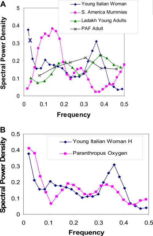 Power spectra derived from hydrogen isotope ratios in hair of humans (A) and oxygen isotope ratios in Paranthropus robustus teeth (B).Note that the slow and fast power peaks, in terms of normalized frequencies, are similar to those derived from power spectra of heart rate variability of the Italian subject and especially the virtual absence of frequency modulations in the patient with PAF (see Figure 3). X =  very slow frequency cycling at 32 weeks.The frequency of spectral power peaks of hydrogen isotope ratios in hair in the normal human and oxygen isotope ratios in Paranthropus robustus is also very similar (B) giving additional support to the influence of the ANS on biologic rhythms derived from different tissues.