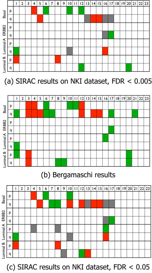 NKI dataset, summary tables results and comparison with Bergamaschi et al. Summary of the aberrations per chromosome arm for the four different subtypes (Basal, ERBB2, Luminal A or Luminal B). The numbers in the top of the tables denotes the chromosomes. A arm is indicated with a red color when a significant region is found on that arm that shows a deletion of the DNA-probes of interest. Similarly, green indicates amplification. The gray boxes indicate that the aberration was not present in the class of interest but in the rest of the samples. The top and the bottom tables show the aberrations found with the SIRAC algorithm on the NKI dataset for two different values of the FDR, i.e. FDR < 0.005 and FDR < 0.05 respectively. The middle table presents the results of Bergamaschi et al. [33] on their breast cancer dataset.