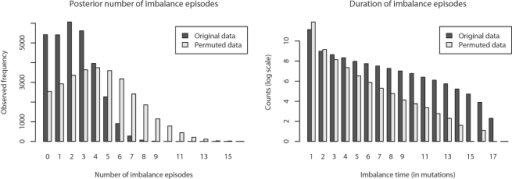 Episodes of imbalance in Yersinia.Left: The Bayesian posterior distribution of the number of imbalance episodes occurring entirely on branches of reconstructed inversion phylogenies, compared with permuted data. Right: Posterior distribution of the imbalance episode duration (in mutation events) observed on branches, compared with data permuted as described in the text. From the two plots we can conclude that transitions to imbalance are less frequent than expected under a  model, and that imbalance episodes last longer than expected under the  model.
