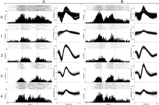 Validation of waveforms in determined Classes with corresponding histograms and rasters. This Figure shows how the outcome of classification of datasets A and B, respectively, can be backwards applied to the raw signals to build rasters and histograms describing individual neurons' response during the experimental task. Notes: 0 – all spikes, Unclassified; 1 – Class 1, 2 – Class 2; 3 – Class 3; 4 – Class 4.