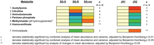Heat Map of Metabolites In Which Alterations in Intracellular Abundance was Linked to VISA-type Resistance.Heat map displaying the 7 metabolites whose abundance was significantly altered in the VISA isolates from both series (SG-R and JH2) compared against the parent VSSA isolates (SG-S and JH1) and reversed directionality in the revertant, SG-rev, indicating a link to the vancomycin resistance phenotype. Of these seven metabolites, all but one (aminoadipate) changed in a similar fashion in both VISA isolates compared against the parent VSSA isolates. Changes in abundance are indicated by color coding with red indicative of increases in mean intracellular abundance relative to the baseline (defined by the abundance in SG-S) and blue indicative of decreases in intracellular abundance on a log (2) scale. Specific p-values for the comparison of SG-R versus SG-S are denoted to the near right of the heat map. The superscript (a) denotes unable to determine if methylmalate or hydroxyglutarate in the absence of a chemical standard.