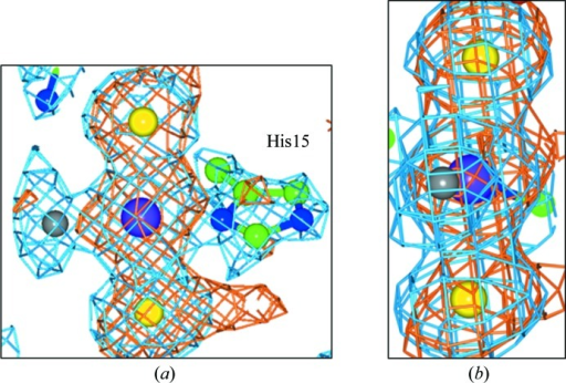 Binding to His15 shows a chemically transformed cisplatin, namely transiodoplatin. (a, b) The molecule A binding site shown in two different views. The 2Fo − Fc electron-density map (blue) is contoured at 1.5 r.m.s. and the anomalous difference electron-density map (orange) is contoured at 3σ. The Pt atom is shown in purple, the iodines are in yellow, the chlorine is in grey, C atoms are in green and N atoms are in blue.