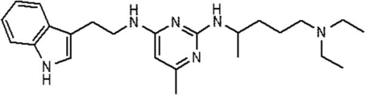 Structural formula of AZA197 (N2-(4-Diethylamino-1-methyl-butyl)-N4-[2-(1H-indol-3-yl)-ethyl]-6-methyl-pyrimidine-2,4-diamine).