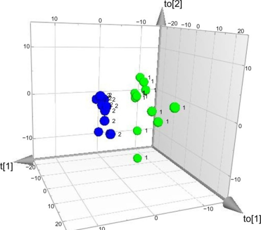 Three-dimensional score plot of group membership orthogonal partial least squares – discriminant analysis.Notes: Class separation between patients (n=11, green dots marked by [1]) and healthy controls (n=11, blue dots marked by [2]) occurs along the t[1] axis (inter-class variation), whereas the other two axes (to[1] and to[2]) represent intra-class variation.