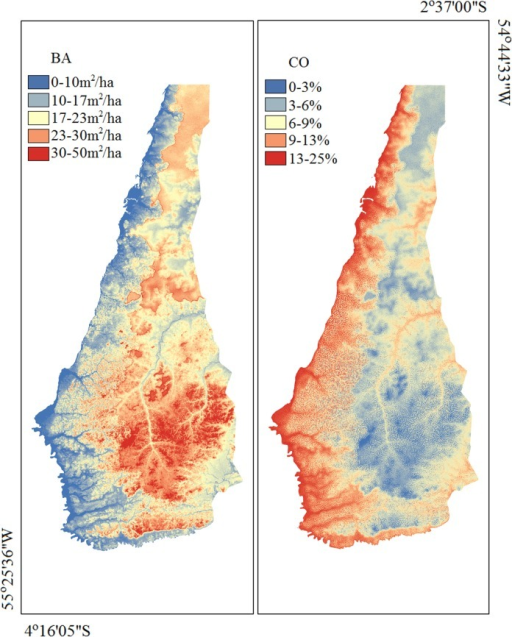 Maps of estimated BA and CO for Tapajós National Forest.