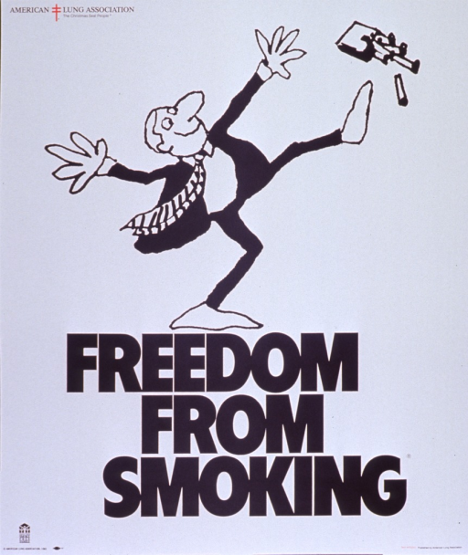 <p>White poster with red and black lettering.  Title at top of poster.  Visual image is an illustration of a man kicking away a package of cigarettes.  Caption below illustration.  Publisher information at bottom of poster.</p>