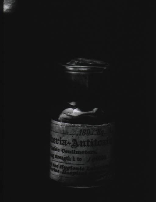 <p>A bottle of diphtheria anti-toxin with an 1895 date on the label.</p>