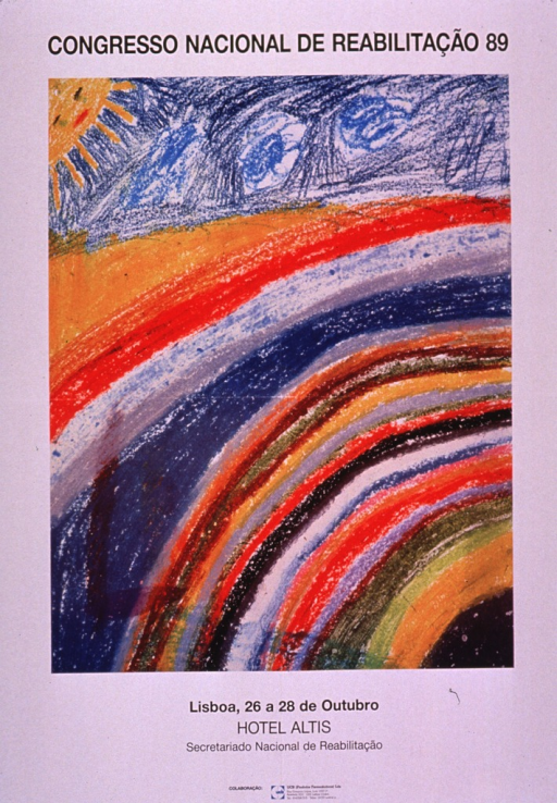 <p>Predominantly white poster with black lettering.  Title at top of poster.  Visual image is a color illustration of the sky and a rainbow.  It appears to be the work of a child.  Date and location of congress and publisher information below illustration.  Sponsor information at bottom of poster.</p>