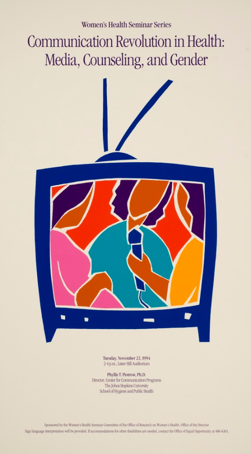 <p>Images representing women are on the screen of a television with antennas.  One image is holding a microphone in front of the center image.</p>