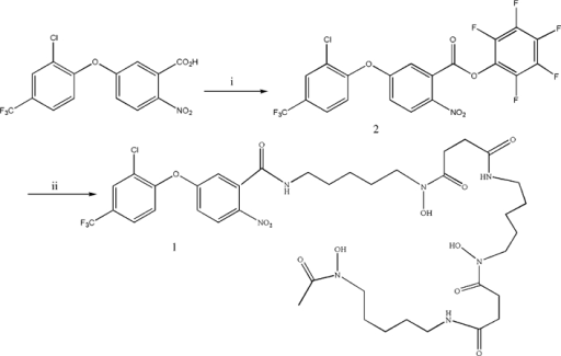 Synthesis of conjugate AF-DFOB. Reagents and conditions: (i) AF, pentafluorophenol; DCC, Dicyclohexylcarbodiimide; THF, tetrafuran and (ii) desferal, 2, Et3N, THF, 50°C.