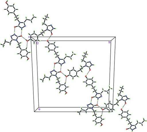 The crystal packing of the title compound viewed along the c axis, showing the formation of hydrogen bonded dimers further linked by additional hydrogen bonding. The hydrogen bonds as dashed lines.